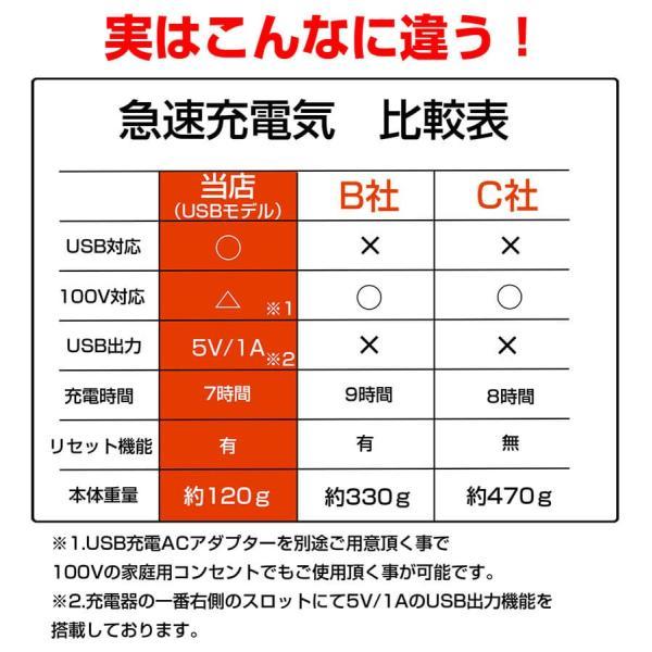 リチウムイオン充電器 18650電池4本セット エネループも充電可能 防災用・交換用充電池|outdoorgear|04