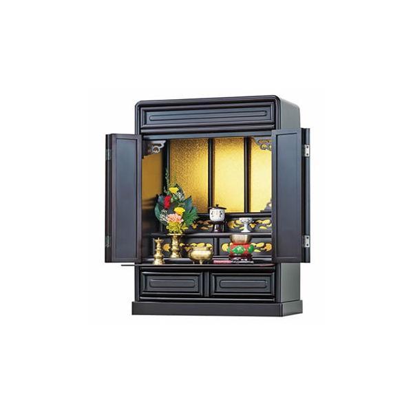 仏壇 だるま型 箱段 上置型 スライド棚付き 引き出し付き 透かし彫り上置仏壇 23号 完成品