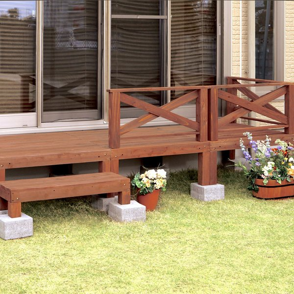 ウッドデッキ 6点セット 天然木 フェンス付き ウッドテラス 縁台 木製 ベランダ 踏み台 ステップ 庭 テラス エクステリア ガーデンデッキ 木製デッキ えんがわ