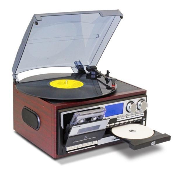 レコードプレーヤーCDプレーヤーカセットテーププレーヤーラジオSDカードUSBメモリMP3録音スピーカー内蔵交換針3本付き