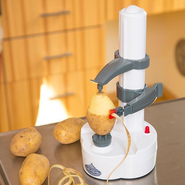 電動皮むき機 イージーピーラー 電池式 皮むき 自動 ピーラー りんご ジャガイモ 皮むき器 リンゴの皮むき器 時短家電 時短グッズ 野菜 果物