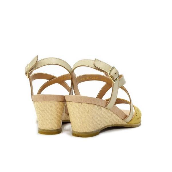 あしながおじさん ウェッジソール サンダル カットワーク 2810163 本革 アンクルストラップ ウェッジヒール レディース 靴 送料無料