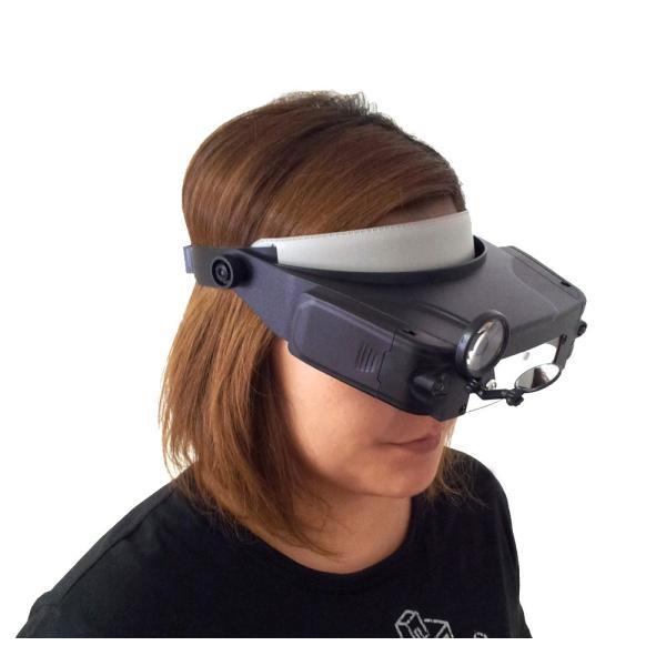 ライト付きヘッドルーペ ヘッドライト ライト ヘルメット 頭 両手 作業 ルーペ 虫眼鏡 拡大鏡 倍率 眼鏡 メガネ めがね 拡大 見える LED レンズ シニア