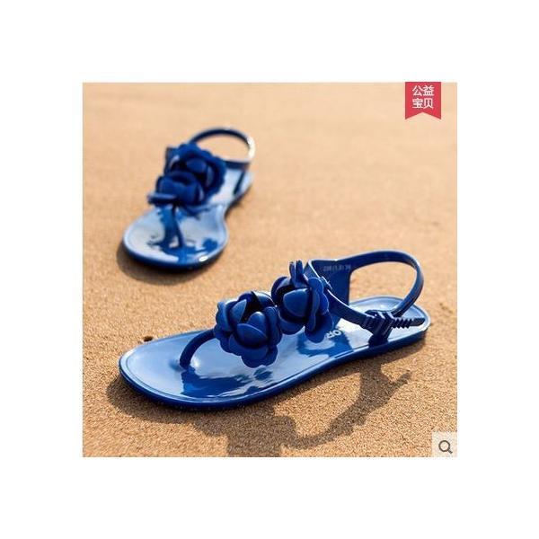 レディース靴 ビーチサンダル サンダル 花 夏 レディースサンダル