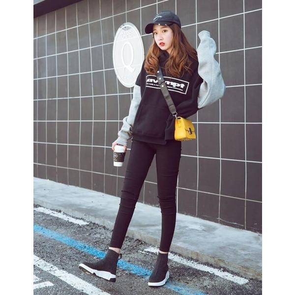 予約 レディース靴 紐なし スニーカー ソックスブーツ シンプル カジュアル 黒 ブラック ハイカット