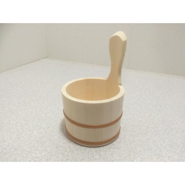 風呂桶 片手湯桶 湯桶 木 取っ手付き エゾマツ製 片手風呂桶 直径14cm バスグッズ