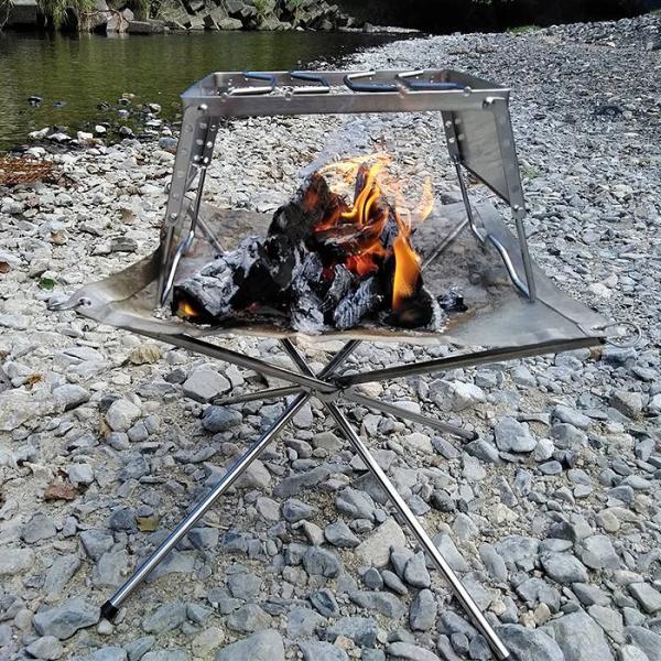焚き火 焚火台 焚き火台 メッシュ キャンプ ファイヤースタンド アウトドア 焚火 薪 収納ケース付き|outlife