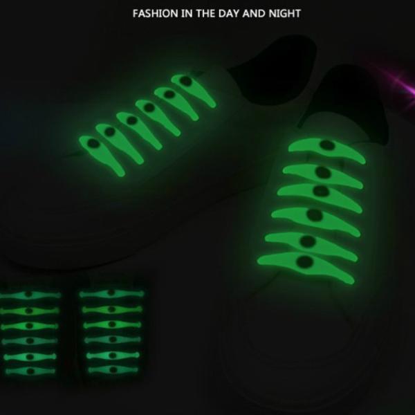 光る 夜光 ほどけない靴ひも 結ばない 靴ひも 靴紐 安全 ゴム シューレース ほどけない 防水 伸縮 伸びる靴ひも 簡単脱着 汚れない おしゃれ かわいい|over-frag|02