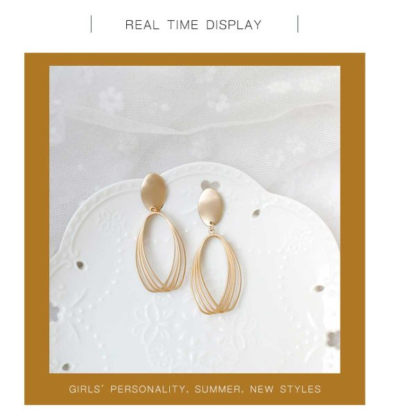 NewTrend ユーロ デザイン 幾何学中空マットゴールドイヤリング/ピアス フープイヤリング 大きめイヤリング イヤリング ピアス 韓国ファッション  2018aw|overrag|03