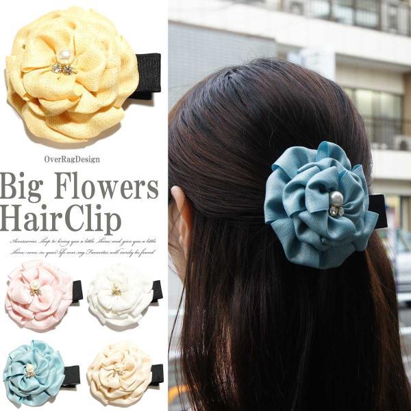 クリップ ヘアアクセサリー バレッタ ビッグフラワーヘアクリップ フラワー パール  アクセサリー 髪飾り ヘアクリップ