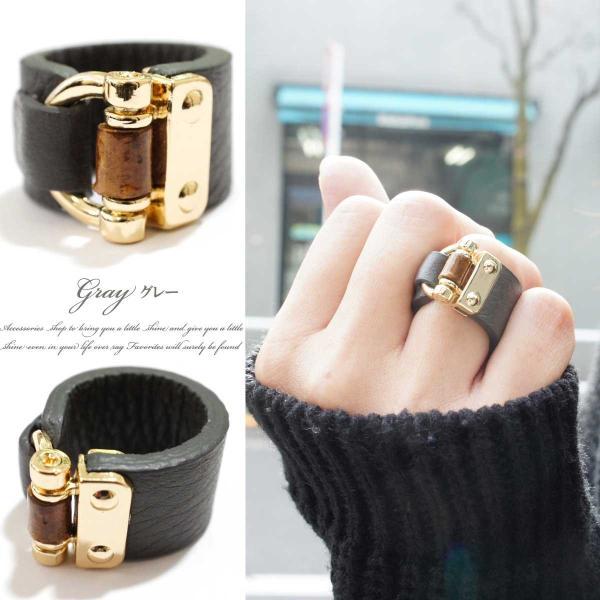 リング 指輪 レディース リアルレザー バンブー デザイン ワイド リング レザーリング 指輪 本革 本皮 レザー レビューを書いてポスト投函送料無料|overrag|02