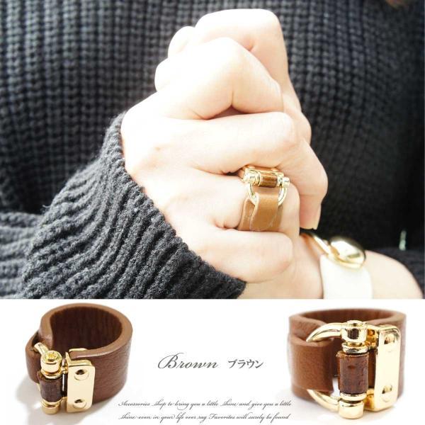 リング 指輪 レディース リアルレザー バンブー デザイン ワイド リング レザーリング 指輪 本革 本皮 レザー レビューを書いてポスト投函送料無料|overrag|03