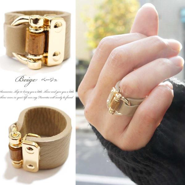 リング 指輪 レディース リアルレザー バンブー デザイン ワイド リング レザーリング 指輪 本革 本皮 レザー レビューを書いてポスト投函送料無料|overrag|04