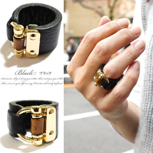 リング 指輪 レディース リアルレザー バンブー デザイン ワイド リング レザーリング 指輪 本革 本皮 レザー レビューを書いてポスト投函送料無料|overrag|05