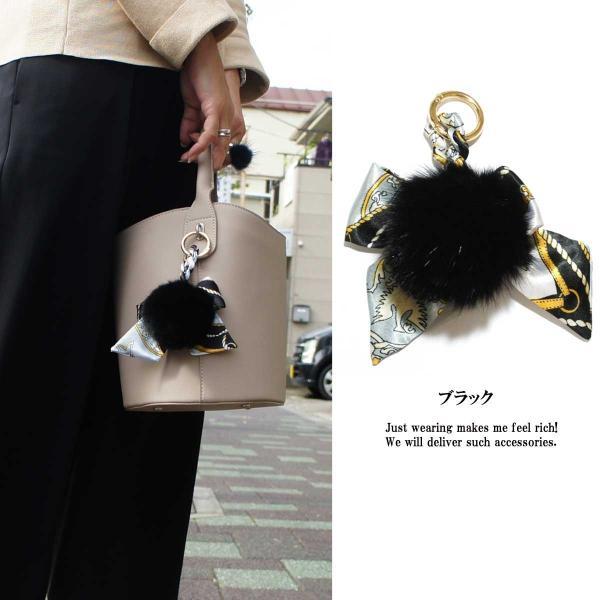 キーホルダー レディース リアルラビットファースカーフ柄バッグチャーム バッグ チャーム ビッグサイズ ふわふわ ラビットファー 大きい 高品質|overrag|02