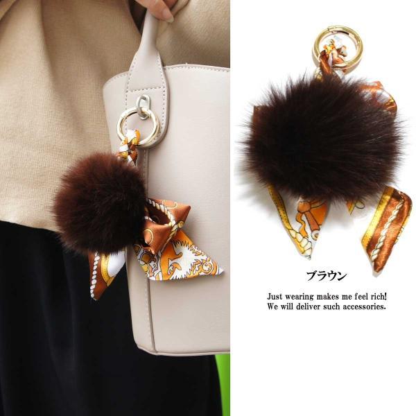 キーホルダー レディース リアルラビットファースカーフ柄バッグチャーム バッグ チャーム ビッグサイズ ふわふわ ラビットファー 大きい 高品質|overrag|04