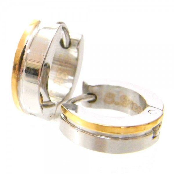 メンズ ピアス 両耳 フープ サージカルステンレスピアス ゴールドサイドライン 送料無料|overrag