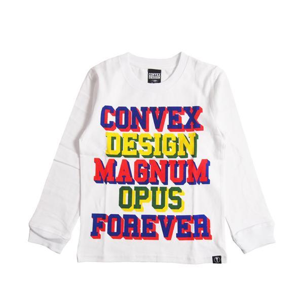 40%OFF CONVEX コンベックス  110-160cm  カレッジ立体ロゴ ロンT シロ  メール便OK  2020秋冬 577208 子供服 長袖Tシャツ SALE セール