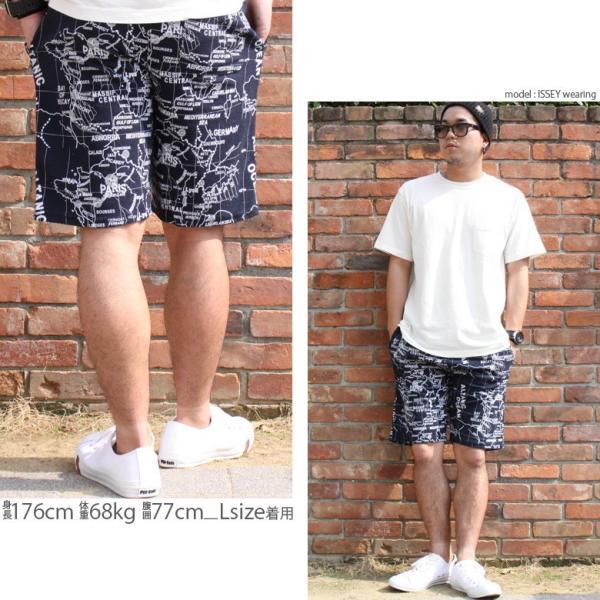ショートパンツ メンズ ハーフパンツ ショーツ 短パン 半ズボン イージーパンツ ボーダー 総柄 ヒョウ柄 黒 ネイビー M L XL 2L LL 大きいサイズ|owl|16