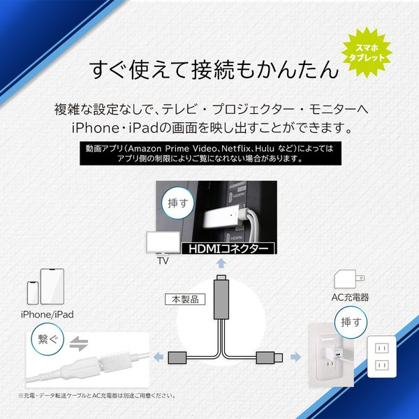HDMI変換ケーブル iPhone iPadをテレビに接続 増税前スペシャルセール|owltech|03