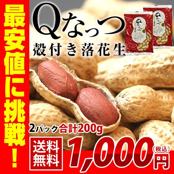新豆 2021年産 送料無料 千葉県産 殻付き 落花生 200g(100g×2) お試し品 新品種 Qなっつ ピーナッツ おつまみ ALL¥1000 ゆうパケット