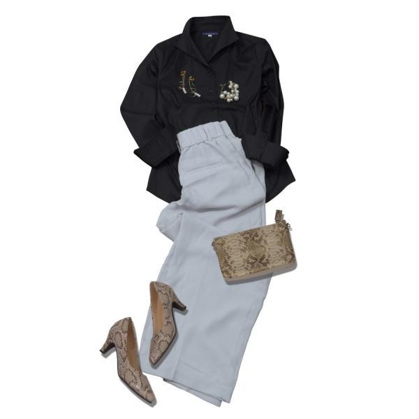 レディースシャツブラウス レディースワイシャツ レディース シャツ ビジネス ストレッチ 長袖 イージーケアブラック 黒 イタリアンカラー 日本製 トップス|ozie|11
