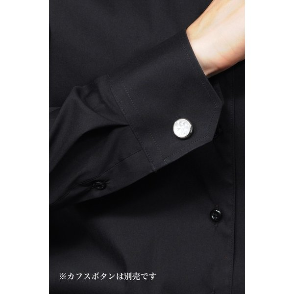 レディースシャツブラウス レディースワイシャツ レディース シャツ ビジネス ストレッチ 長袖 イージーケアブラック 黒 イタリアンカラー 日本製 トップス|ozie|09