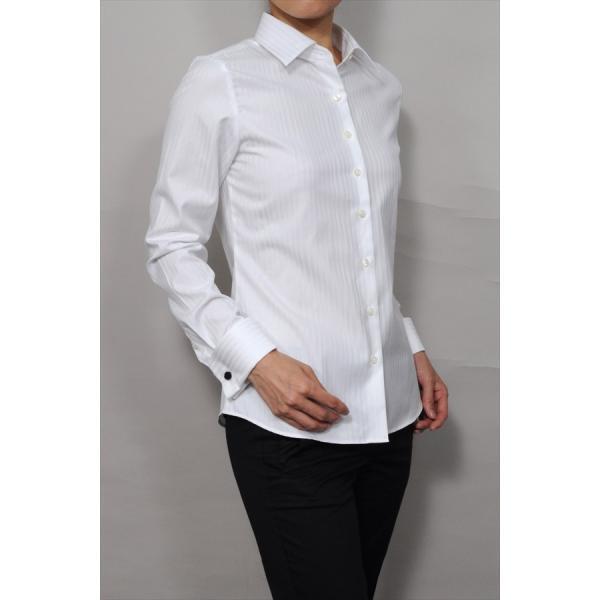 レディースシャツ ワイシャツ ブラウス ビジネス 長袖  白シャツ ダブルカフス ワイドカラーシャツ プレミアムコットン 日本製 トップス 3L 大きいサイズ|ozie|02