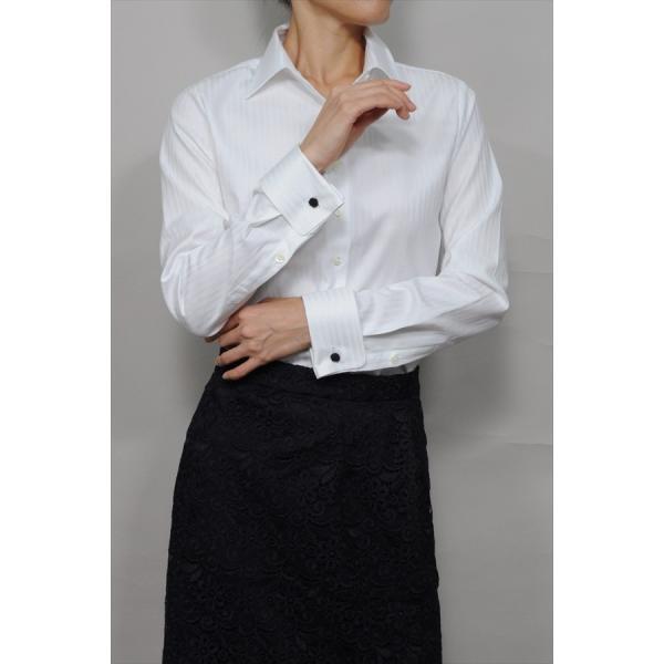 レディースシャツ ワイシャツ ブラウス ビジネス 長袖  白シャツ ダブルカフス ワイドカラーシャツ プレミアムコットン 日本製 トップス 3L 大きいサイズ|ozie|03