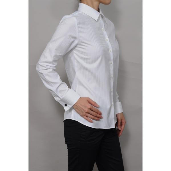 レディースシャツ ワイシャツ ブラウス ビジネス 長袖  白シャツ ダブルカフス ワイドカラーシャツ プレミアムコットン 日本製 トップス 3L 大きいサイズ|ozie|04