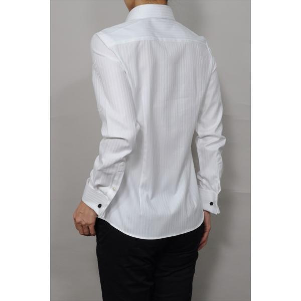 レディースシャツ ワイシャツ ブラウス ビジネス 長袖  白シャツ ダブルカフス ワイドカラーシャツ プレミアムコットン 日本製 トップス 3L 大きいサイズ|ozie|05