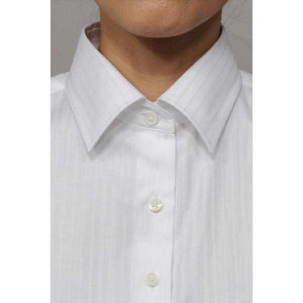 レディースシャツ ワイシャツ ブラウス ビジネス 長袖  白シャツ ダブルカフス ワイドカラーシャツ プレミアムコットン 日本製 トップス 3L 大きいサイズ|ozie|06