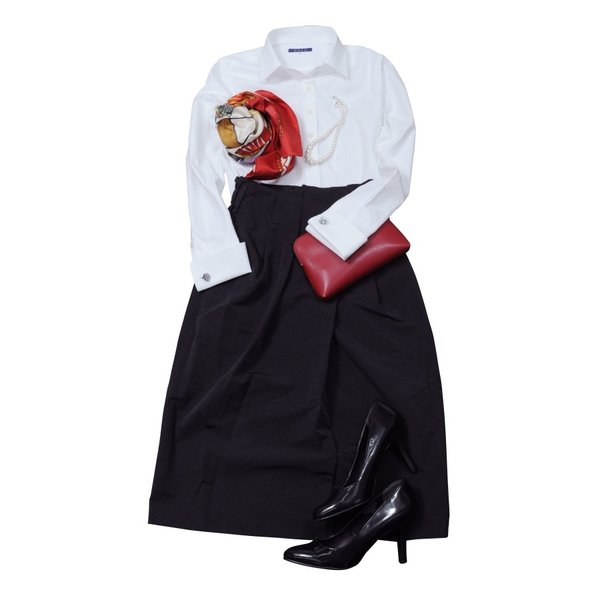 レディースシャツ ワイシャツ ブラウス ビジネス 長袖  白シャツ ダブルカフス ワイドカラーシャツ プレミアムコットン 日本製 トップス 3L 大きいサイズ|ozie|09