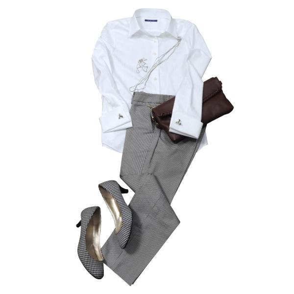 レディースシャツ ワイシャツ ブラウス ビジネス 長袖  白シャツ ダブルカフス ワイドカラーシャツ プレミアムコットン 日本製 トップス 3L 大きいサイズ|ozie|10