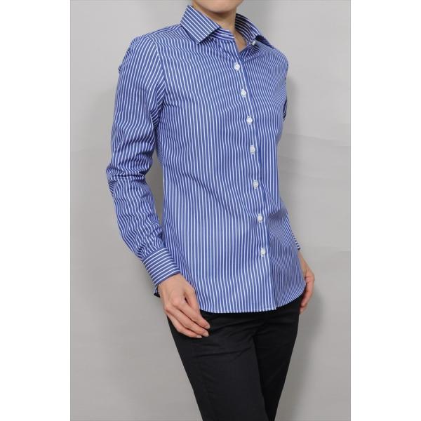 レディースシャツ ワイシャツ ブラウス ビジネス 長袖 ダブルカフス ワイドカラーシャツ ブロード 日本製 トップス 3L 大きいサイズ ブルー 青|ozie|02