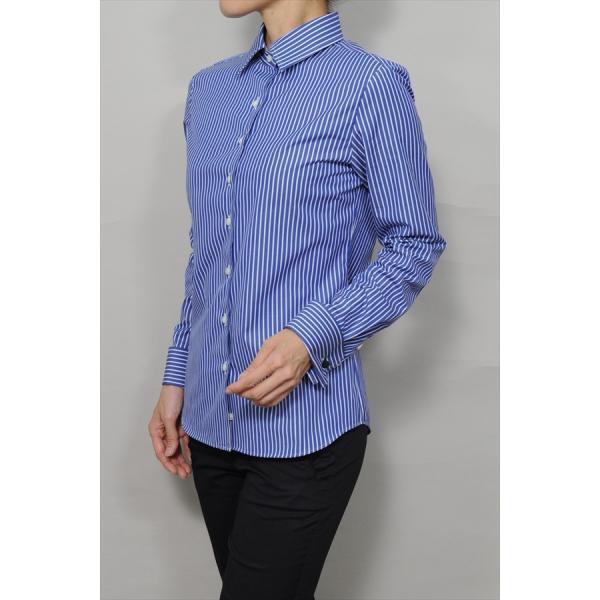 レディースシャツ ワイシャツ ブラウス ビジネス 長袖 ダブルカフス ワイドカラーシャツ ブロード 日本製 トップス 3L 大きいサイズ ブルー 青|ozie|04
