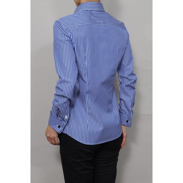レディースシャツ ワイシャツ ブラウス ビジネス 長袖 ダブルカフス ワイドカラーシャツ ブロード 日本製 トップス 3L 大きいサイズ ブルー 青|ozie|05