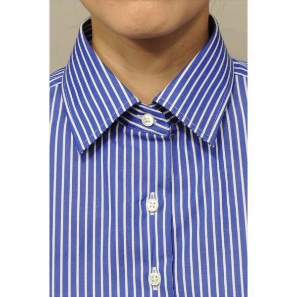 レディースシャツ ワイシャツ ブラウス ビジネス 長袖 ダブルカフス ワイドカラーシャツ ブロード 日本製 トップス 3L 大きいサイズ ブルー 青|ozie|06