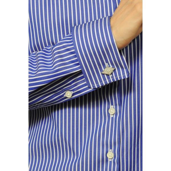 レディースシャツ ワイシャツ ブラウス ビジネス 長袖 ダブルカフス ワイドカラーシャツ ブロード 日本製 トップス 3L 大きいサイズ ブルー 青|ozie|07