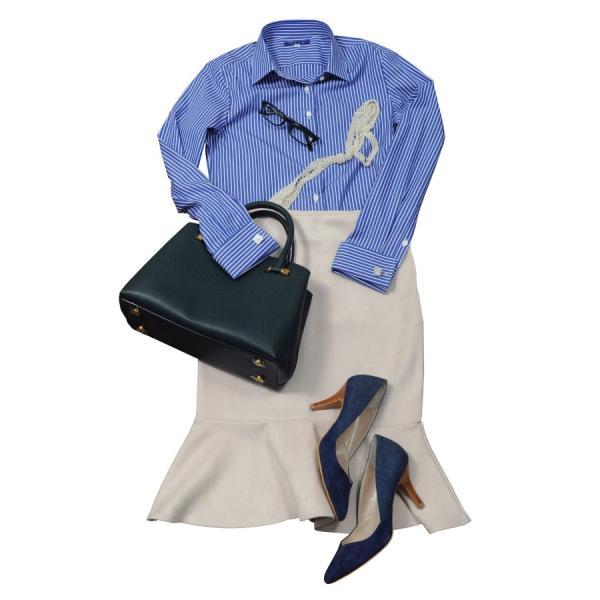 レディースシャツ ワイシャツ ブラウス ビジネス 長袖 ダブルカフス ワイドカラーシャツ ブロード 日本製 トップス 3L 大きいサイズ ブルー 青|ozie|09