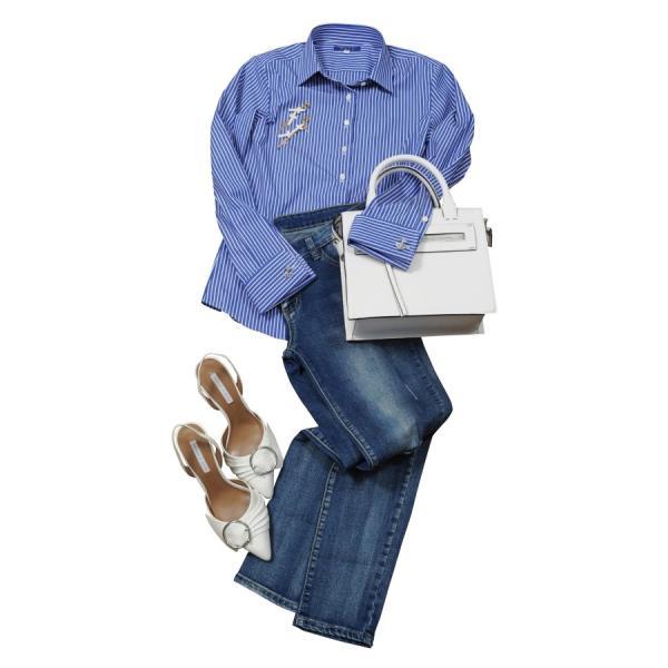 レディースシャツ ワイシャツ ブラウス ビジネス 長袖 ダブルカフス ワイドカラーシャツ ブロード 日本製 トップス 3L 大きいサイズ ブルー 青|ozie|10
