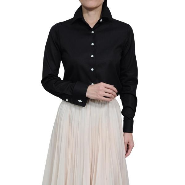 レディースシャツ ワイシャツ ブラウス ビジネス 長袖  黒シャツ ダブルカフス ワイドカラーシャツ 大きいサイズ おしゃれ 日本製 ozie