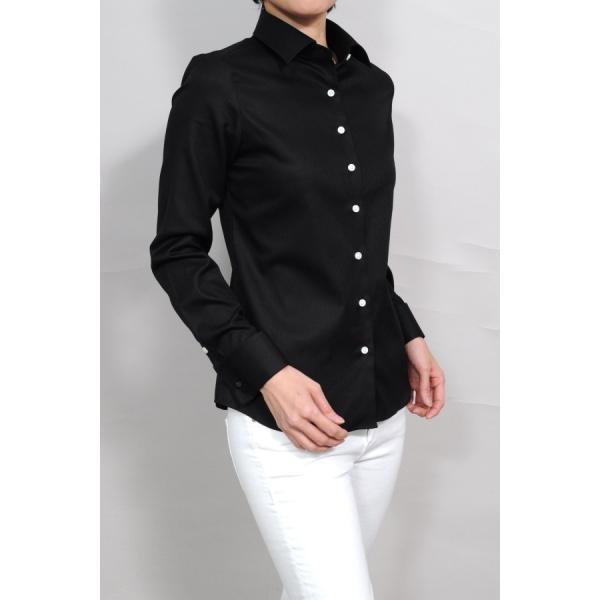 レディースシャツ ワイシャツ ブラウス ビジネス 長袖  黒シャツ ダブルカフス ワイドカラーシャツ 大きいサイズ おしゃれ 日本製 ozie 02