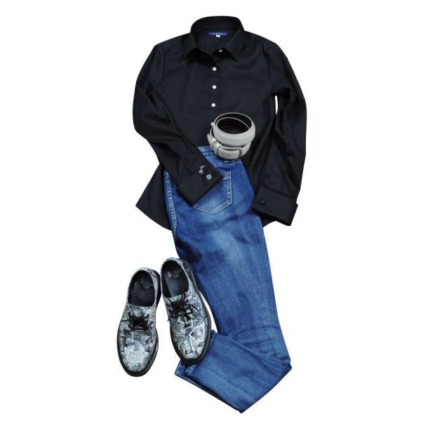 レディースシャツ ワイシャツ ブラウス ビジネス 長袖  黒シャツ ダブルカフス ワイドカラーシャツ 大きいサイズ おしゃれ 日本製 ozie 11