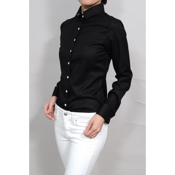 レディースシャツ ワイシャツ ブラウス ビジネス 長袖  黒シャツ ダブルカフス ワイドカラーシャツ 大きいサイズ おしゃれ 日本製 ozie 03