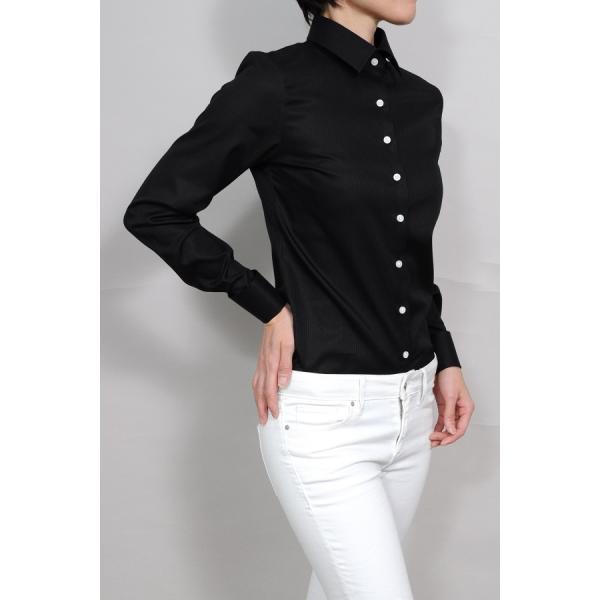 レディースシャツ ワイシャツ ブラウス ビジネス 長袖  黒シャツ ダブルカフス ワイドカラーシャツ 大きいサイズ おしゃれ 日本製 ozie 04