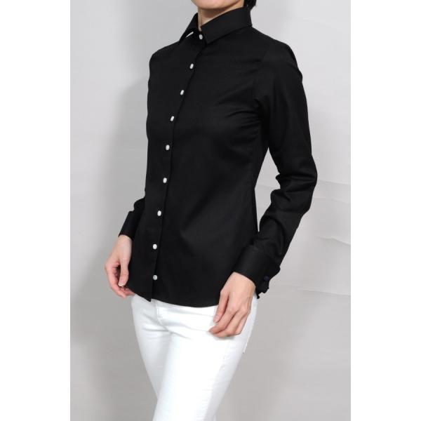 レディースシャツ ワイシャツ ブラウス ビジネス 長袖  黒シャツ ダブルカフス ワイドカラーシャツ 大きいサイズ おしゃれ 日本製 ozie 05