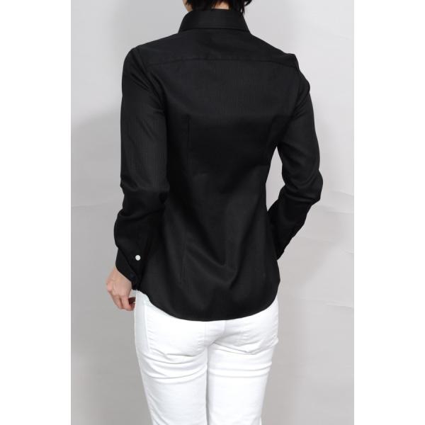 レディースシャツ ワイシャツ ブラウス ビジネス 長袖  黒シャツ ダブルカフス ワイドカラーシャツ 大きいサイズ おしゃれ 日本製 ozie 06