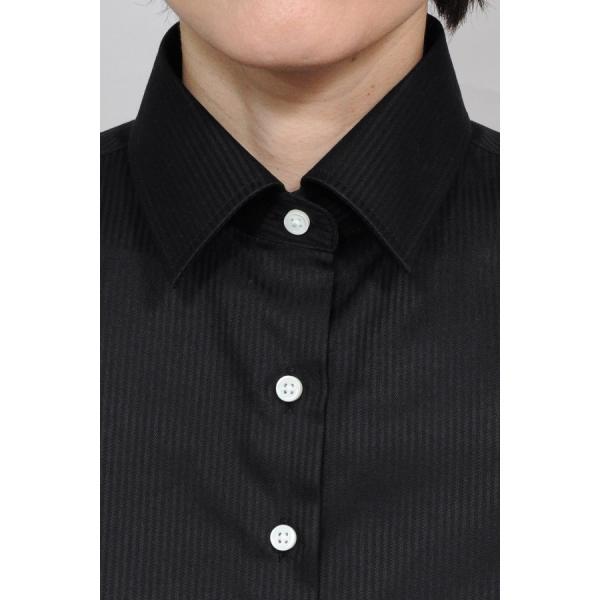 レディースシャツ ワイシャツ ブラウス ビジネス 長袖  黒シャツ ダブルカフス ワイドカラーシャツ 大きいサイズ おしゃれ 日本製 ozie 07