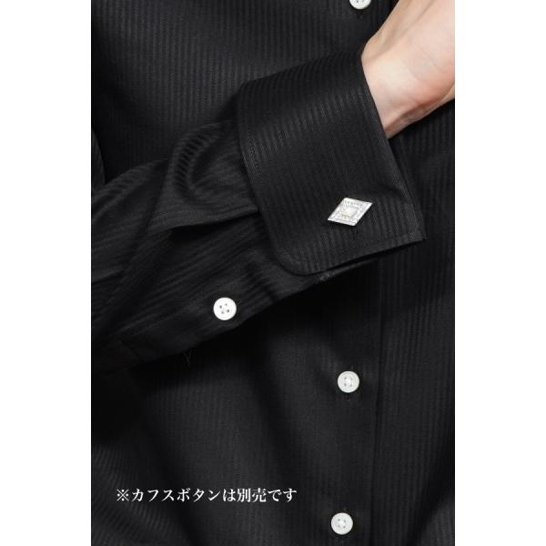 レディースシャツ ワイシャツ ブラウス ビジネス 長袖  黒シャツ ダブルカフス ワイドカラーシャツ 大きいサイズ おしゃれ 日本製 ozie 08